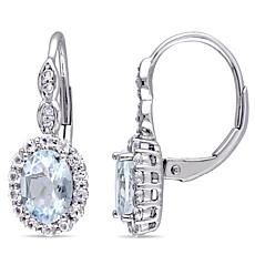 2.08ctw Aquamarine, White Zircon & Diamond 14K Earrings