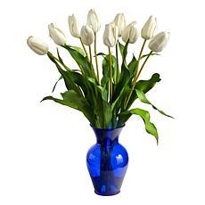 22 in. Dutch Tulip Artificial Arrangement in Blue Colored Vase