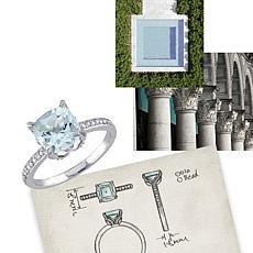 2.21ctw Aquamarine and Diamond 10K Round  Ring