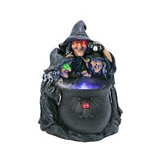 "23"" Halloween Illuminated Color-Changing Smoking Witches Cauldron"