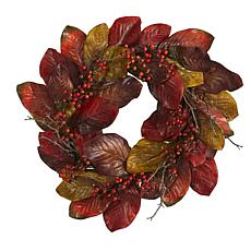 24 in. Harvest Magnolia Leaf and Berries Artificial Wreath