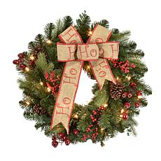 """24"""" Premium Decorated Wreath - 35 Clear Lights"""
