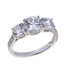 2.59ctw Absolute™ Round 3-Stone with Pavé Sides Ring