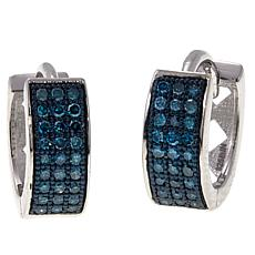 .25ctw Colored Diamond Hugger Hoop Sterling Silver Earrings