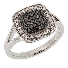 .25ctw Colored Diamond Square Cluster Sterling Silver Ring