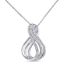 .25ctw Diamond 10K White Gold Twist-Design Pendant with