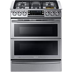 "30"" 5.8 cu. ft. Slide-in  Dual-Fuel Range with Flex Duo Door- Stain..."