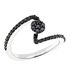 .31ctw Colored Diamond Cluster Swirl Sterling Silver Ring