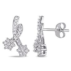.31ctw White Diamond 14K White Gold Bypass Stud Earring