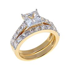 3.2ctw Absolute™ Princess-Cut and Pavé 2-Ring Set