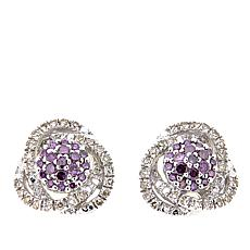 .32ctw Purple and White Diamond Cluster Sterling Silver Stud Earrings