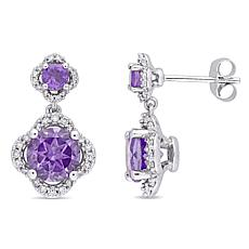 3.31ctw Amethyst and Diamond 14K Double Drop Earrings