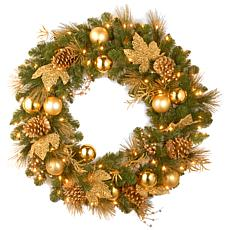 "36"" Decorative Coll. Elegance Wreath w/Lights"