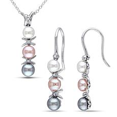4-6mm Multi-Color Cultured Pearl and Diamond Pendant and Earrings Set