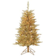 4' Champagne Tuscany Tinsel Tree - 150 Clear Lights