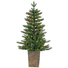 4' Potted Madison Spruce Tree - Winter Accents and 100 Clear Lights