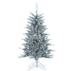 4' Silver Tuscany Tinsel Tree - 150 Clear Lights