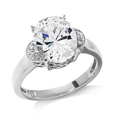 4.06ctw Absolute™ Oval and Pavé Crescent-Design Ring