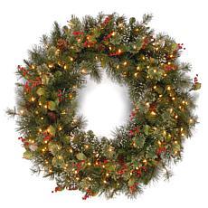 """48"""" Wintry Pine Wreath w/Lights"""