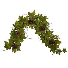 5' Fall Maple Leaf with Pine Cones Artificial Garland