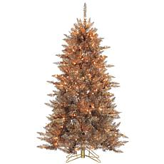 5' Layered Copper & Silver Frasier Fir Tree - 250 Clear Lights