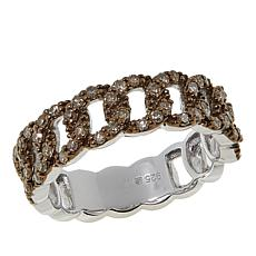 .50ctw Colored Diamond Curb-Link Sterling Silver Band Ring