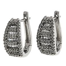.50ctw White Diamond 14K White Gold J-Hoop Earrings