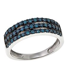 .51ctw Colored Diamond 3-Row Sterling Silver Band Ring