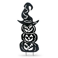 "52.3"" Halloween Stacking Pumpkins Silhouette Yard Stake"