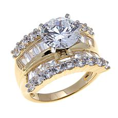 5.66ctw Absolute™ Round Cubic Zirconia 4-Row Ring