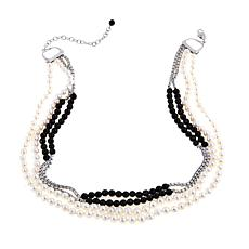 "6-8mm Freshwater Pearl and Black Onyx 24-3/8"" Necklace"