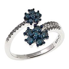 ".65ctw Blue and White Diamond ""Flower"" Sterling Silver Bypass Ring"