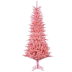 7-1/2' Lighted Tinsel Tree - Pink Tuscany