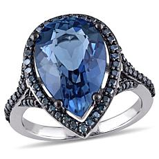 7.16ctw London Blue Topaz and Blue Diamond 14K Ring