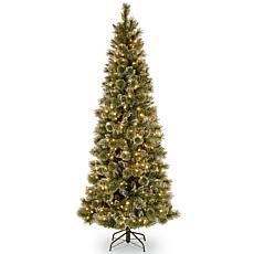 7.5 ft. Glittery Bristle Pine Slim Tree with Soft White LED Lights