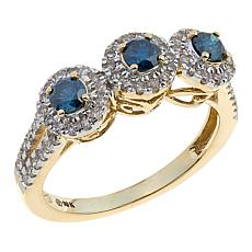 .75ctw Colored and White Diamond 3-Cluster 10K Yellow Gold Halo Ring
