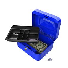 "8"" Blue Cash Lock Box with Coin Tray"