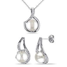 9-9.5mm Cultured Pearl and Diamond Twist Pendant and Earrings Set