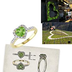 .92ctw Peridot and Diamond 10K Heart-Shaped Halo Ring