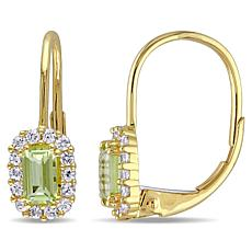 .92ctw Peridot and White Sapphire 10K Earrings