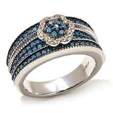 .99ctww Blue and White Diamond  Floral Band Ring
