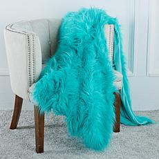 A by Adrienne Landau Vibrant Faux Fur Throw