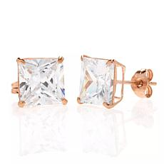 A&M 14K Rose Gold 5mm Square Cubic Zirconia Stud Earrings