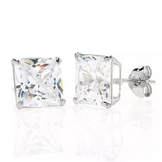 A&M 14K White Gold 7mm Square Cubic Zirconia Stud Earrings