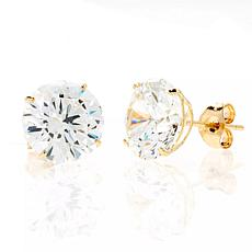 A&M 14K Yellow Gold 4mm Round Cubic Zirconia Stud Earrings
