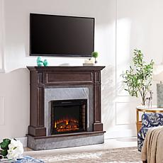Abril Stone Media Fireplace - Dark Espresso with Graphite Gray Slate