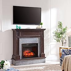 Abril Stone Media Fireplace - Espresso with Graphite Gray