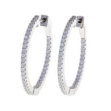 Absolute™ 1.05ctw CZ Inside-Outside 30mm Hoop Earrings