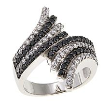 Absolute™ 1.32ctw CZ Sterling Silver Black and White Bypass Ring