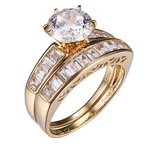 Absolute™ 14K Cubic Zirconia Round with Channel Sides Bridal Ring Set